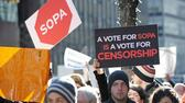 Protest gegen SOPA in New York. AFP