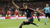Bayern's Thomas Mueller kicks the ball during the Champions League quarterfinal second leg soccer match between SL Benfica and Bayern Munich at the Luz stadium in Lisbon Wednesday, April 13, 2016. (AP Photo/Armando Franca) AP