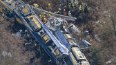 Aerial view of rescue forces working at the site of a train accident near Bad Aibling, Germany, Tuesday, Feb. 9, 2016. Several people were killed when two trains collided head-on. (Peter Kneffel/dpa via AP) ap