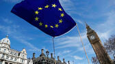 FILE PHOTO: An EU flag flies above Parliament Square during a Unite for Europe march, in London, Britain March 25, 2017. REUTERS/Peter Nicholls/File Photo Reuters