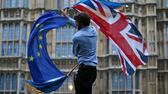 "(FILES) In this file photo taken on June 28, 2016 a man waves both a Union flag and a European Union flag together on College Green outside The Houses of Parliament at an anti-Brexit protest in central London. - Preparedness in Britain for a no-deal Brexit remains ""at a low level"", with logjams at Channel ports threatening to impact drug and food supplies, according to government assessments released September 11, 2019. British MPs voted last week to force the government to publish the no-deal ""Operation Yellowhammer"" document, which also warns of ""public disorder"" in such a scenario. Britain's plan for no checks at the Irish border would likely ""prove unsustainable due to significant economic, legal and biosecurity risks"", it said, adding that it could lead to a black market developing in border communities, with dissident groups expected to capitalise. (Photo by JUSTIN TALLIS / AFP) AFP"