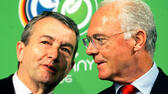 huGO-BildID: 50305022 FILE - In this March 6, 2006 file photo German soccer legend and head of the organizing committee for the 2006 soccer World Cup in Germany, Franz Beckenbauer, right, talks to Wolfgang Niersbach during a workshop in the build up for the World Cup in Düsseldorf, western Germany. (AP Photo/Frank Augstein, file) ap